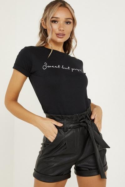 Black Faux Leather Paper Bag Shorts