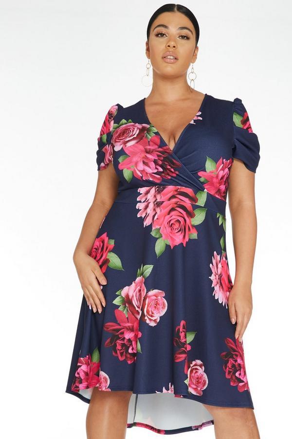 Curve Navy Floral Dip Hem Dress