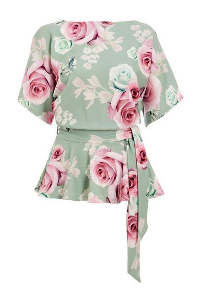 Sage Floral Print Peplum Top