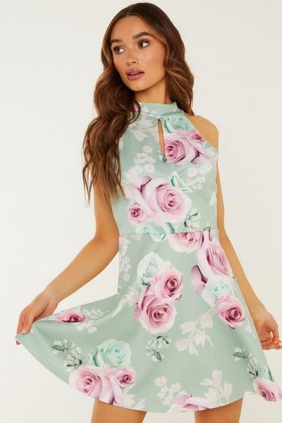 Sage Floral Print Skater Dress