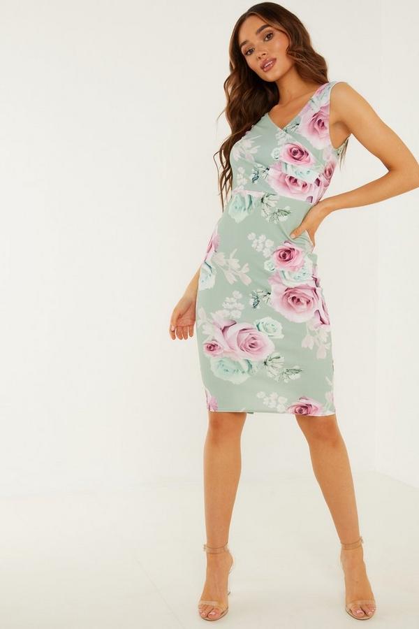 Sage Floral Print Midi Dress