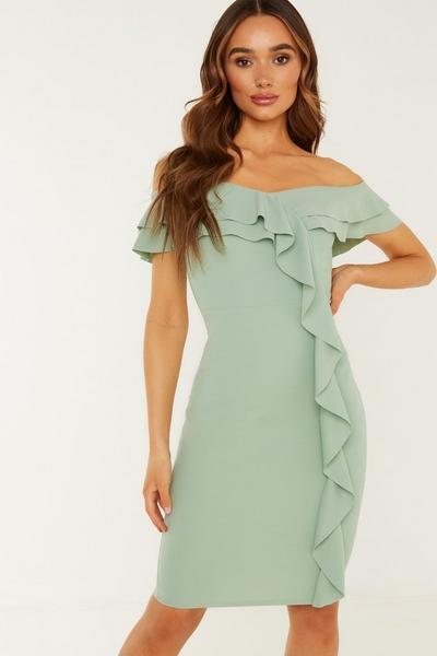 Sage Frill Bardot Midi Dress