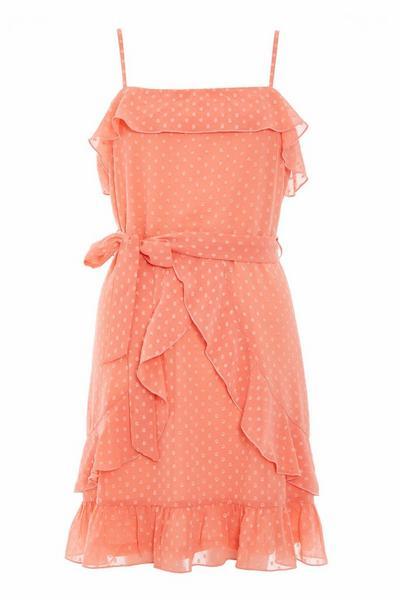 Coral Polka Dot Frill Dress