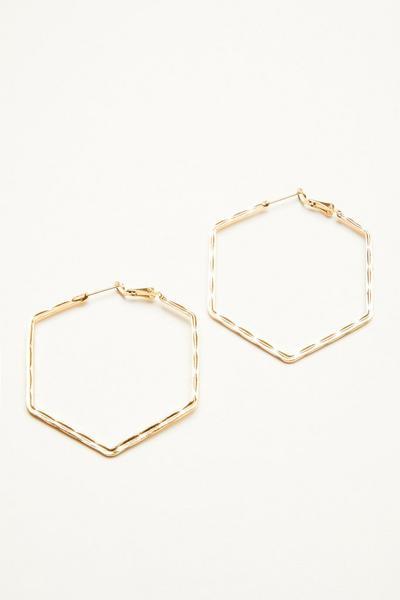 Gold Hexagon Hoop Earring