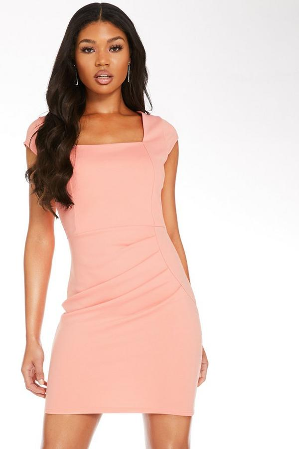 Coral Ruched Bodycon Dress