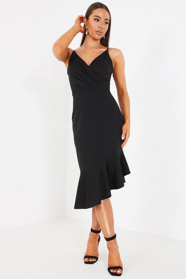 Black Asymmetric Frill Hem Midi Dress