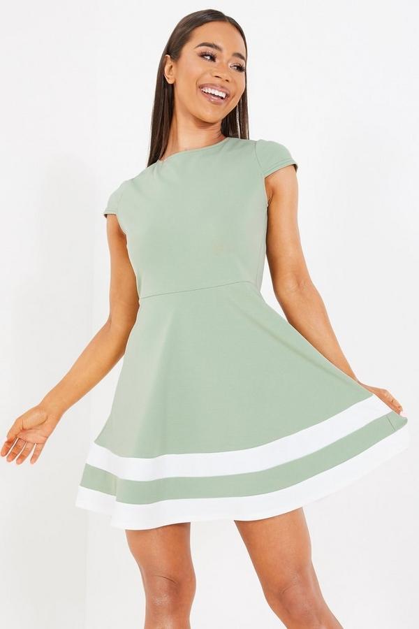 Sage Cap Sleeve Skater Dress