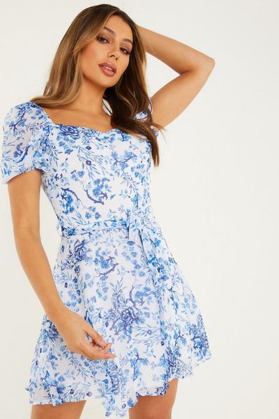 White/ Blue Chiffon Floral Skater Dress