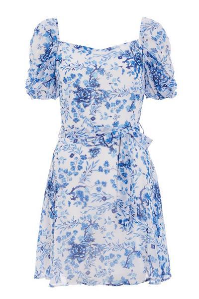 White & Blue Chiffon Floral Skater Dress