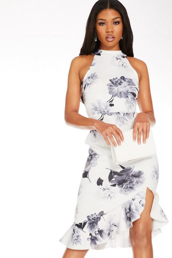 Vestido Floral Blanco con Cuello Halter