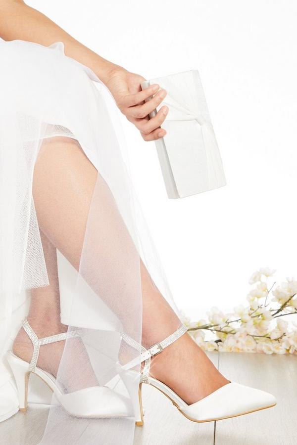 Bridal Wide Fit White Diamante Courts