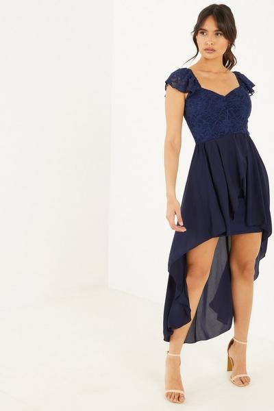 Navy Lace Sweetheart Dip Hem Dress