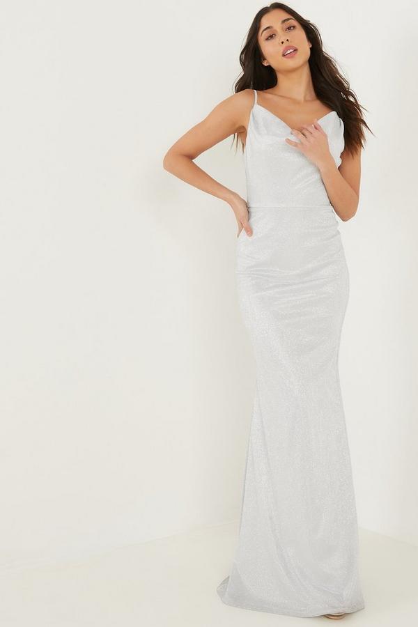 Silver Glitter Cowl Neck Maxi Dress