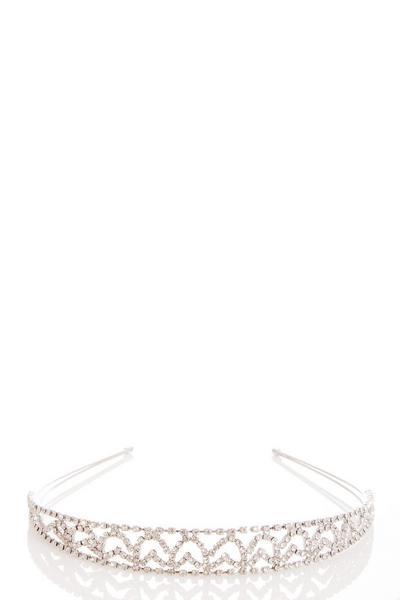 Silver Diamante Heart Headband