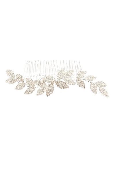 Silver Diamante Leaf Hair Comb