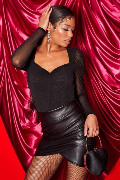 Black Sweetheart Puff Sleeve Bodysuit