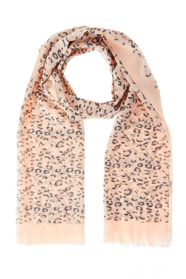 Peach Leopard Print Scarf