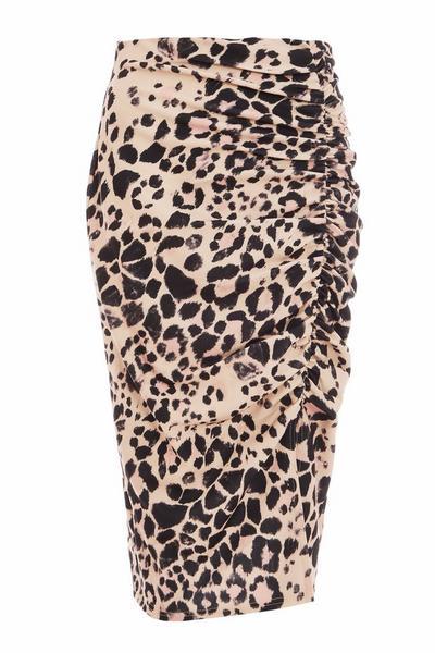 Stone Leopard Print Midi Skirt