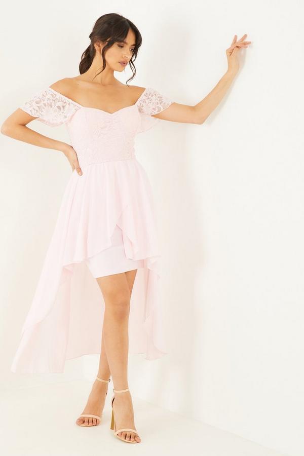 Pink Lace Sweetheart Dip Hem Dress