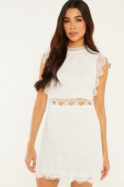 White Crochet Skater Dress