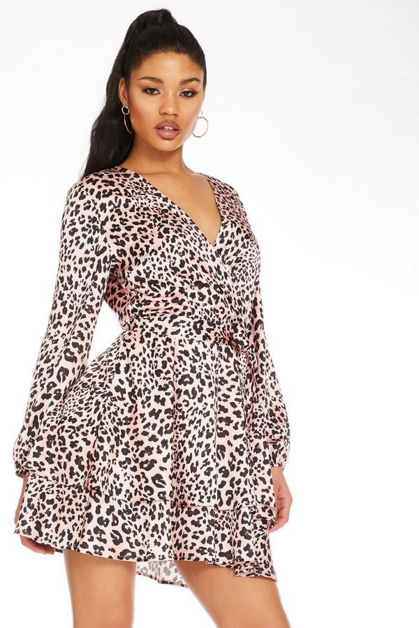 Vestido Corto Rosa de Leopardo