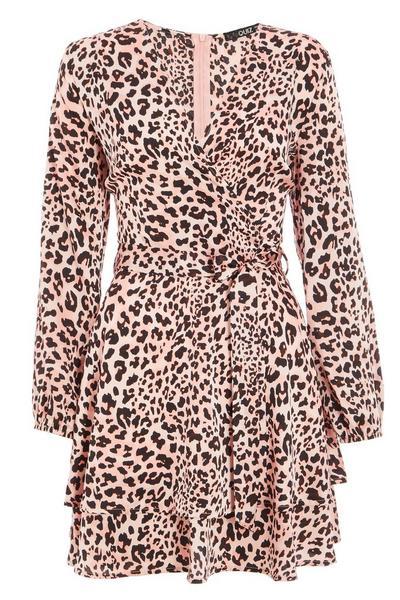 Pink Leopard Print Wrap Dress