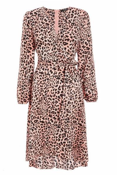 Pink Animal Print Dip Hem Dress