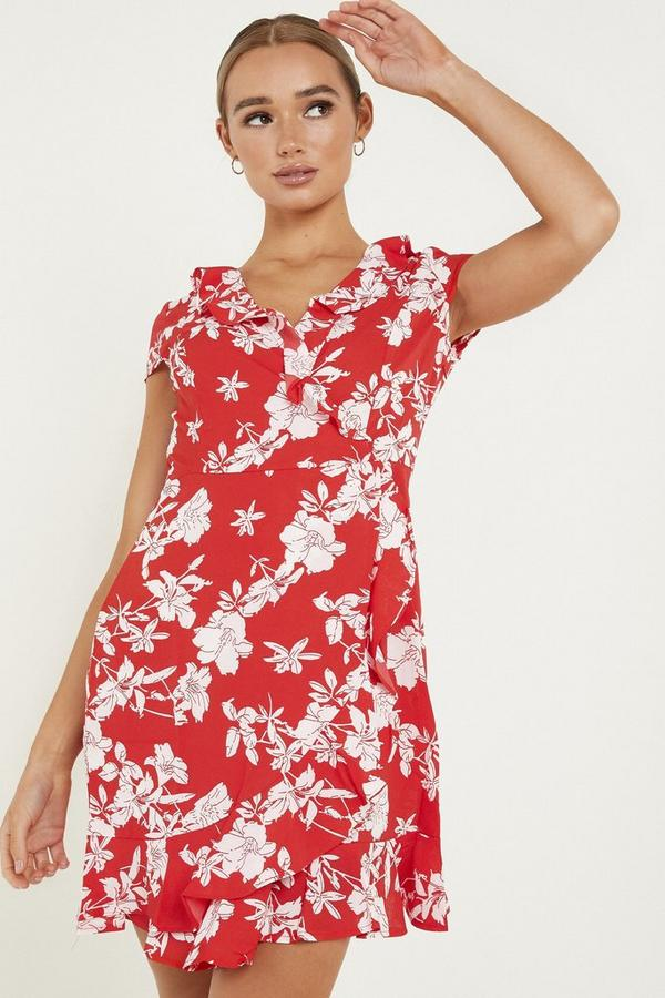 Red & White Floral Wrap Dress