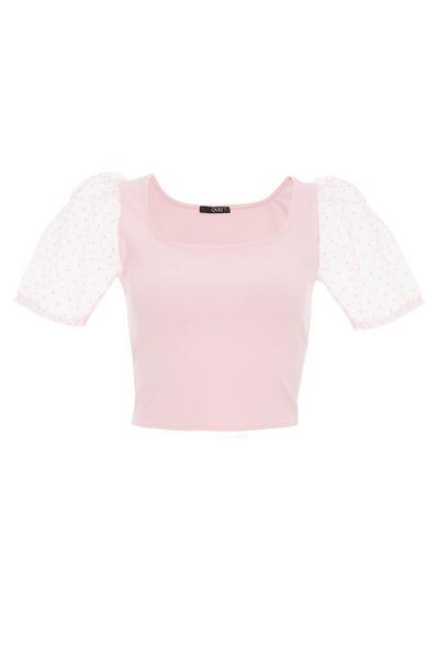 Pink Organza Puff Sleeve Crop Top