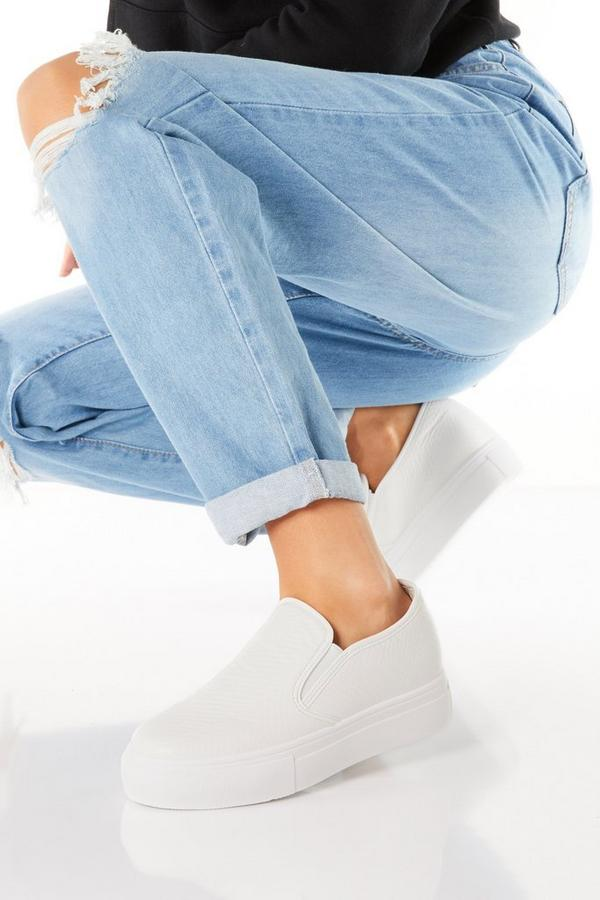 White Faux Leather Slip On Trainer