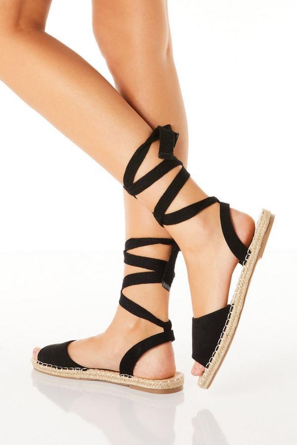 Black Ankle Tie Flat Sandals