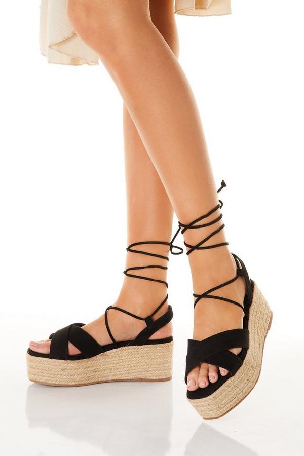 Black Flatform Tie Up Sandals