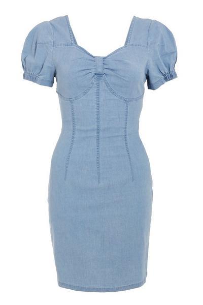 Blue Denim Sweetheart Puff Sleeve Dress