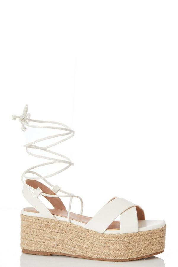 White Flatform Tie Up Sandals