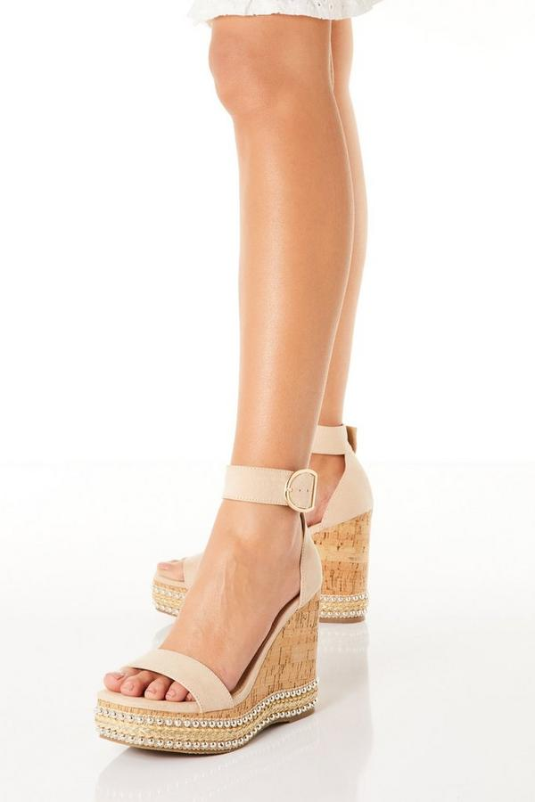 Nude Faux Suede Wedge Sandals