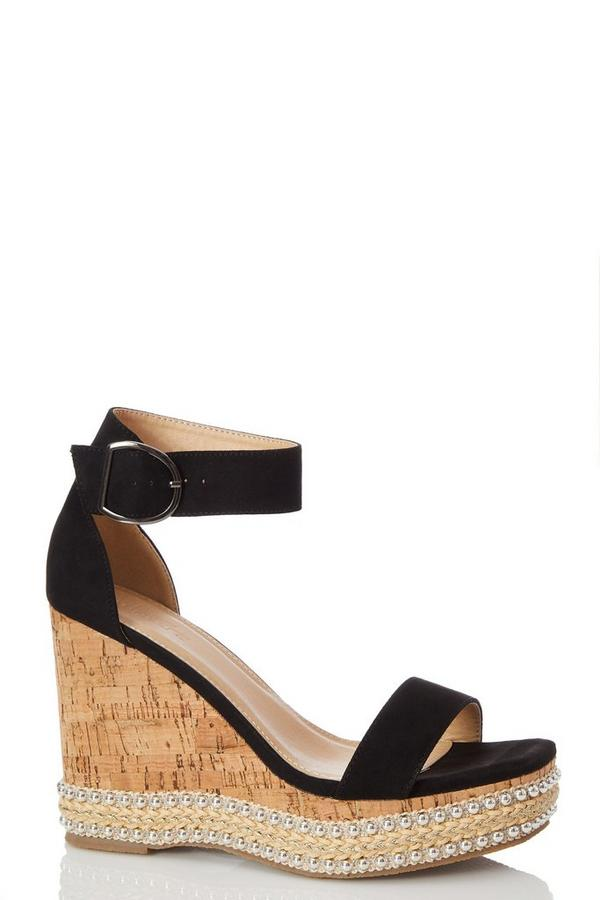 Black Faux Suede Wedge Sandals