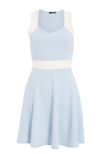 Blue Contrast Skater Dress