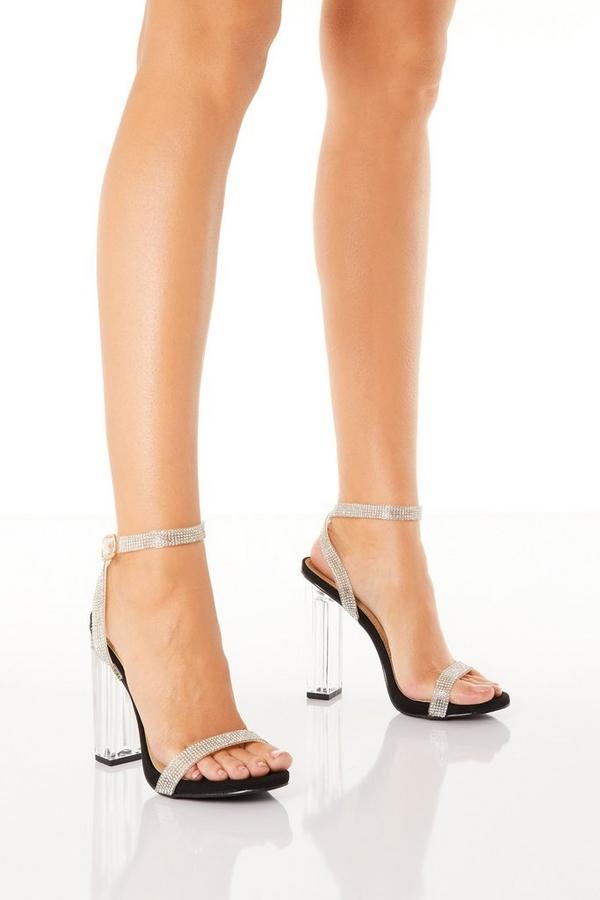 Black Diamante Block Heel Sandals