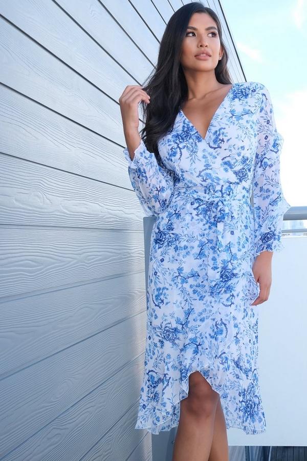 White & Blue Chiffon Floral Midi Dress