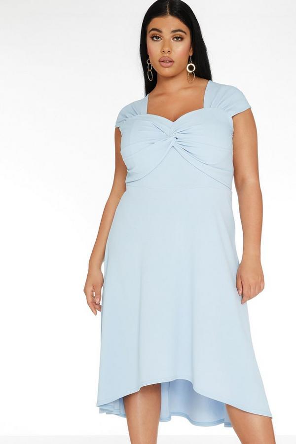 Curve Blue Knot Front Dress
