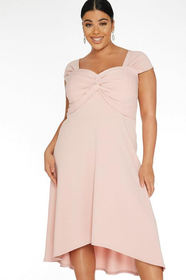 Curve Pink Knot Front Dress