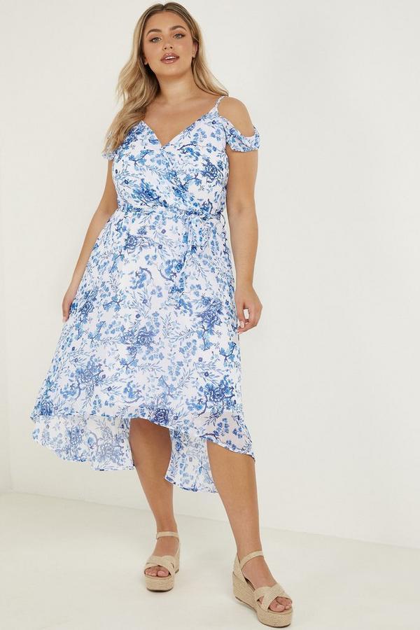 Curve White & Blue Dip Hem Dress