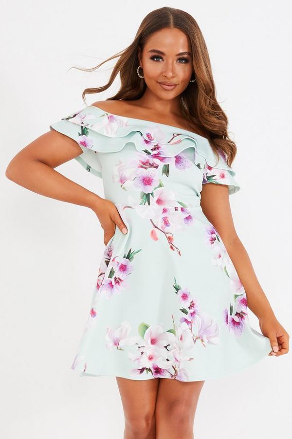 Petite Sage Floral Skater Dress