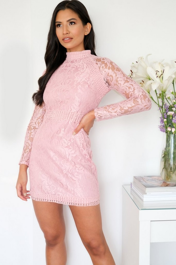 Pink Lace Turtle Neck Bodycon Dress
