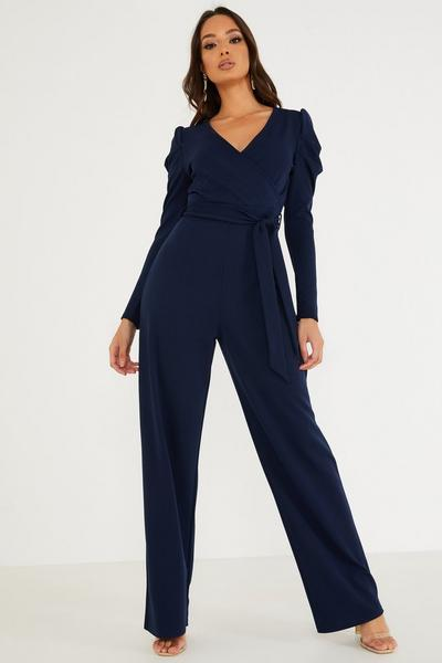 Navy Puff Sleeve Jumpsuit