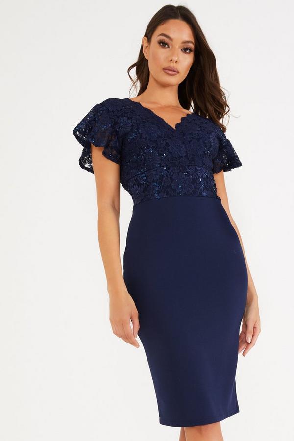 Navy Lace V Neck Midi Dress