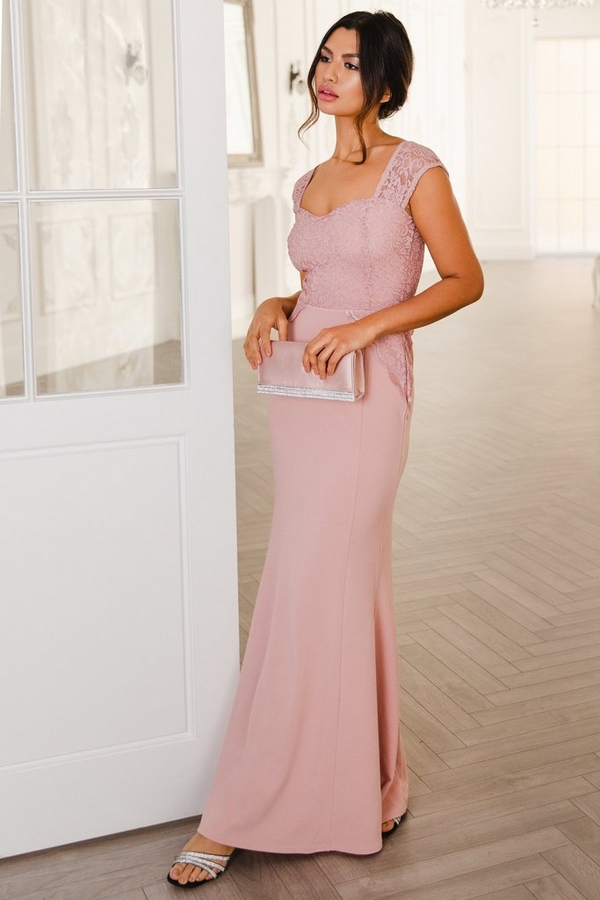 Pink Glitter Lace Maxi Dress