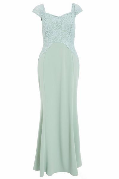Sage Glitter Lace Maxi Dress