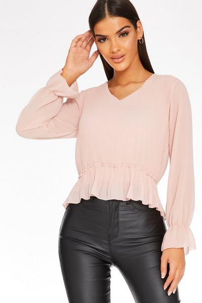 Pink V Neck Peplum Top