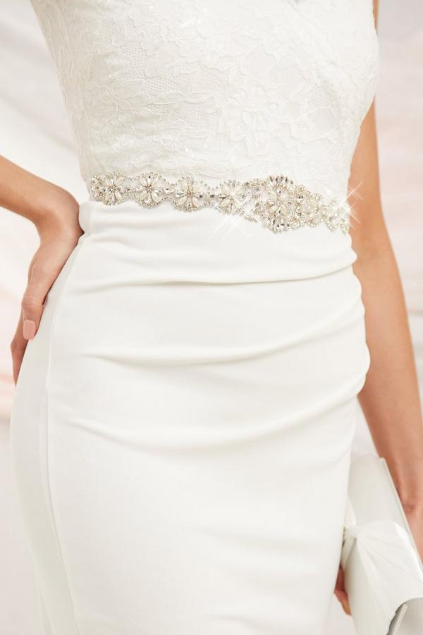 Bridal White Diamante Belt